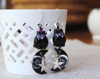 Black Cat Earrings, Celestial Earrings, Halloween Cat Earrings, Crescent Moon Earrings, Star Earrings, Whimsical Earrings, Lampwork Earrings