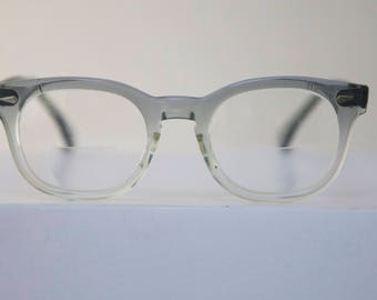 Vintage 1950's American Optical Eyeglasses Frames // 50s 60s Grey Translucent Fade outs Keyhole Glasses //  rh