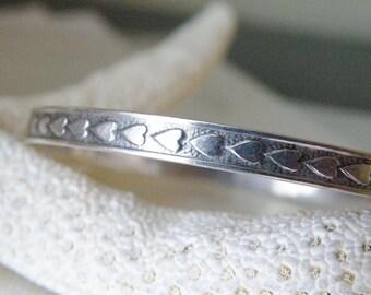 "Vintage Beau Sterling Silver 925 Heart Eternity Infinity Oxidized Bangle Slip on Bracelet 7.25"""