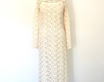 1960s Vintage Ivory Lace Dress Fred Perlberg Bohemian Crochet Wedding Gown S