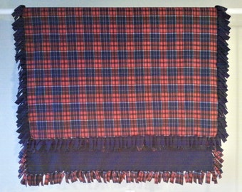 Fleece Blanket - Hand-Tied Fringe Throw - Plaid Theme - Blue And Red