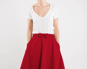 SALE - Red skirt | Midi skirt | Skirt with pockets | LeMuse red skirt