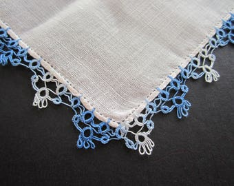 Tatted Edge HANKY Hankie Linen Handkerchief  Gorgeous White and Variegated Blue Tatting