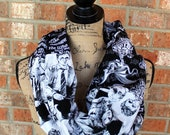 Harry Potter Themed Black and White Cotton Woven Women's Infinity Scarf Ready to Ship Machine Washable