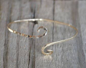 Gold Bangle Stackable Bracelet Boho Hammered Adjustable Wife Mother Daughter Girlfriend Christmas Ready to Ship Birthday Valentine's Day