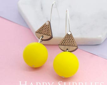 1 Pair (SBW28E) Silicone Balls Laser Cut Geometric Wooden Dangle Earrings - HEW Series - Ocean Sea Summer Beach