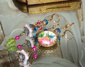 Blue bird and rose garden image cabochon woven jewel beaded bead asymmetrical earrings Pamelia Designs