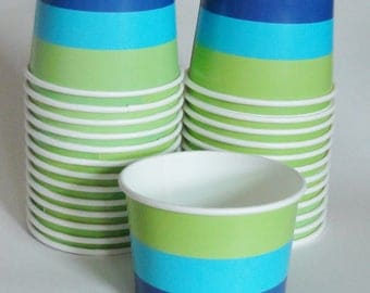 1 Set of BLUE & GREEN STRIPED Party Cups Snack Cups Ice Cream Cups Dessert Bowls - Baby Shower, Summer Birthday, Peter Pan Neverland Party