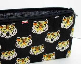 Zippered Pencil Pouch, Royal Tiger Faces, Black Japanese Linen Zipper Bag