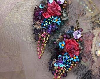 Vintage posy earrings- bold lightweight romantic bohemian earrings, hand beaded
