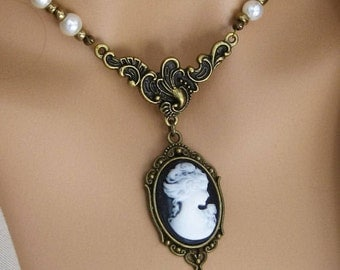 Victorian Cameo Necklaces, Cameo Necklaces, Beaded Necklaces, Cameo Jewelry, Cameo, Victorian Necklaces, Beaded Cameo Necklace, Cameos, N788