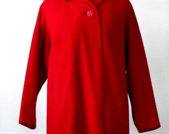 Vintage Ladies Red Wool and Cashmere Jacket • Wool Jacket