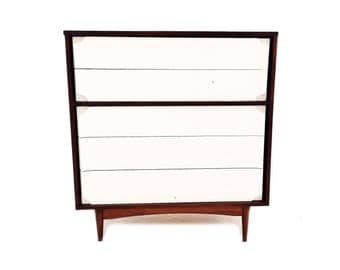 Vintage Mid Century Dresser In Wood and White