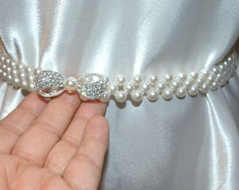 Beaded pearl elastic stretch belt, size small to large - wedding belt, pearl belt,white belt, white beaded belt , pearl belt, stretch belt