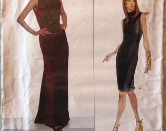 Uncut Vogue American Designer Pattern # 2021 - Oscar de la Renta - Floor or Knee Length Lined Dress - Sizes 8, 10, 12