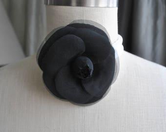 Black Silk Camellia Brooch/Black Camellia Brooch/Camellia Brooch/Luxury gift/Couture Camellia brooch/Bridal couture/