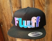 Fluff Flat Brim Hat in Black with Super Reflective Writing and Snap Back Fit