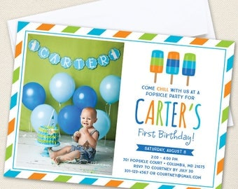 Popsicle Party Photo Invitations (Boy Colors) - Professionally printed *or* DIY printable