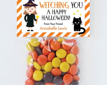 Halloween Treat Labels & Tags - Witching You A Happy Halloween - Set of 24 personalized paper tags and 24 treat bags