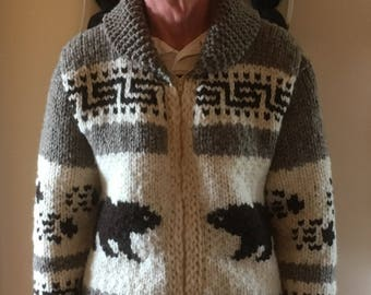 New Hand Knit Adult's Cowichan Style Bear Sweater
