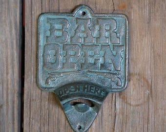 """Cast Iron Bottle Opener """"Bar Open"""" Wall-Hanging Pop-top - Saloon Bar Man Cave"""