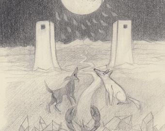 Tarot - The Moon - Original Drawing