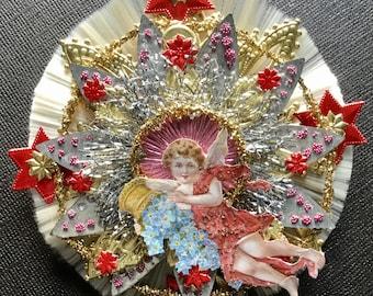 Vintage Look Angel Valentine/Christmas Ornament Victorian-German Angel Scrap,Spun Glass, Tinsel, Dresdens,Vintage Tin Reflector,Rare Tinsel