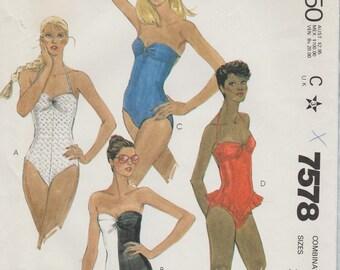 McCalls 7578 / Vintage Sewing Pattern / Swimsuit Bathing Suit / Sizes 10 12 14