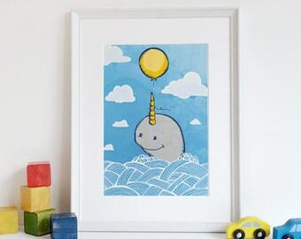 Baby Narwhal, Narwhal Art, Whale Nursery Art, Nursery Decor, Art Print, Narwhal Nursery Print, gifts under 30, top selling, Ocean Kids Room
