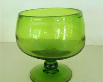Blenko Green Glass Compote Pedestal Bowl 629S,   60s Husted, Handblown MCM
