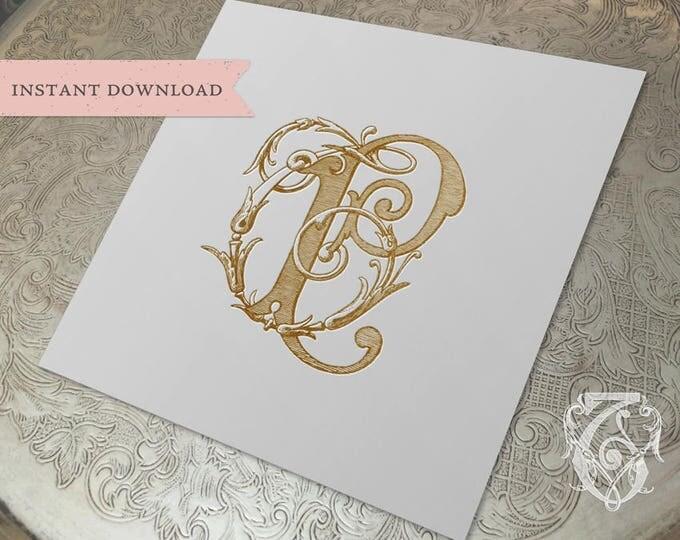 Vintage Wedding Monogram TP PT Digital Download T P