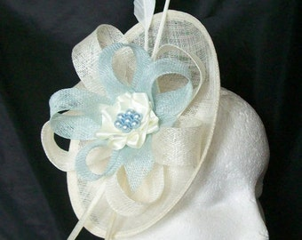 Cream Ivory & Pale Blue Pastel Pandora Saucer Sinamay Loop Feather Pearl Fascinator Headpiece Wedding Derby Ascot- Made to Order