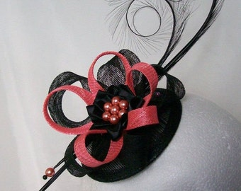 Black and Coral Pheasant Curl Feather Sinamay Loop & Pearl Wedding Fascinator Mini Hat - Made To Order