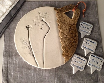 Cheese Board Set with Queen Ann's Lace Imprint