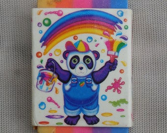 Vintage Lisa Frank Panda Painter Eraser, 1990s Classic Cuteness Rainbow Collectible School Supply