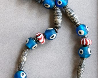 All Seeing Eye Bead Necklace w Large Vintage Blue Glass Beads from Nepal and Moroccan Oxidized Silver Beads Ethnic Tribal Boho Jewelry