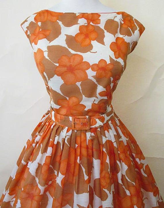 Charming Designer 1950's Cotton Floral Print Summer Dress full skirt and matching belt vintage sundress Rockabilly Pin up girl Size Large