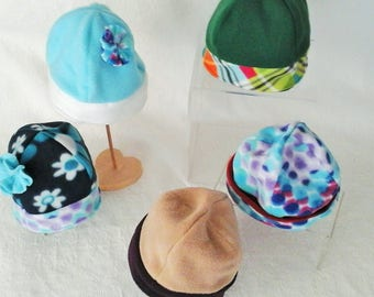 Fleece Hats, Kid's Warm Hats, Gift for children, Two in one Hat, Wear on either side, Gift under 10 Dollars, Double Layer Fleece