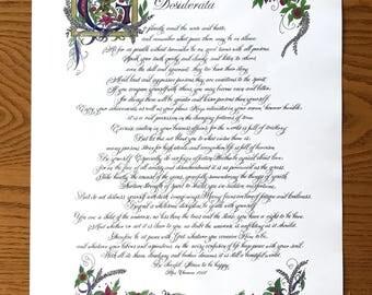 Custom Calligraphy, Made to order, Calligraphy, Desiderata by Max Ehrmann,  Scottish Theme, Original, Elizabethan, Old World Art/16x20