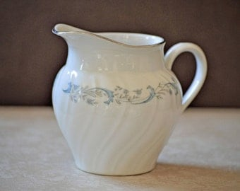 China Creamer/China Sugar Bowl/Camelot China/Gracious/White Creamer/Blue Floral Sugar Bowl/Tea Party/Made in Japan/