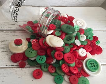 "Hand Dyed Buttons, ""Christmas"", Mixed Buttons, 200 Buttons, Plastic Mini Mason Jar by Buttons Galore, 2 & 4 Hole Assortment"