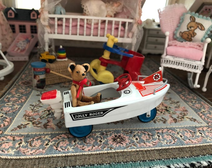 Featured listing image: Miniature Boat, Jolly Roger Toy Peddle Boat, Riding Toy Boat, Dollhouse Miniature, 1:12 Scale, Dollhouse Accessory, Toy, Crafts, Topper