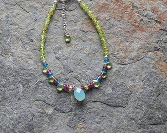 Multi color gemstone stacking bracelet - colorful gemstone layering bracelet - blue topaz - garnet - peridot - semiprecious gems - bohemian