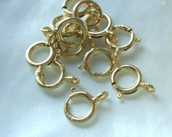 10 pcs, 5.5mm, 18k Gold plate Sterling Silver Spring Clasp with Open Ring