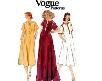 Vogue 7124 Pullover Dress or Maxi 70s vintage sewing Pattern Size 14 Bust 36 inches UNCUT Factory Folded