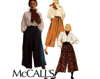 90s McCall's 4961 Pleated Culottes Gauchos Split Skirt Pattern Size 10 12 14 UNCUT Factory Folded