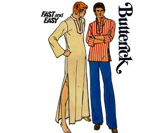 Butterick 3625 Mens Caftan & Boho Pullover Top 70s Vintage Sewing Pattern Size LARGE Chest 42 - 44 inches UNCUT Factory Folded