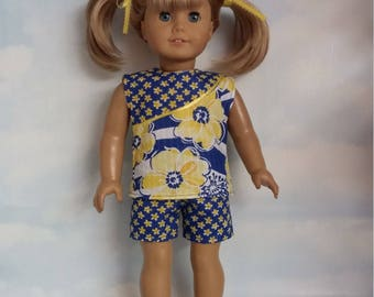 18 inch doll clothes - Navy and Yellow Floral Shorts and Top handmade to fit the American girl doll - Free Shipping USA