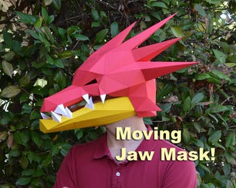 Diy paper masks puppets and more just for fun by tetravariations dragon mask with moving jaw papercraft 3d paper mask halloween mask rave solutioingenieria Choice Image
