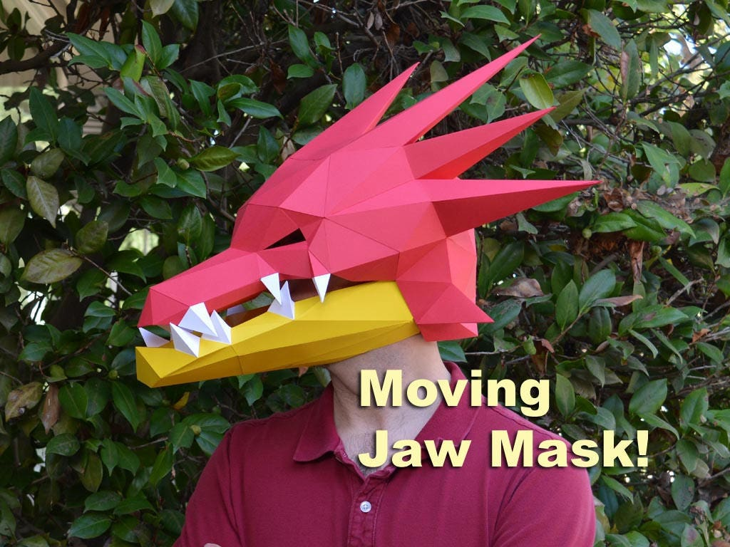 DIY Dragon Mask with Moving Jaw - Awesome Rave Costume! | Paper ...